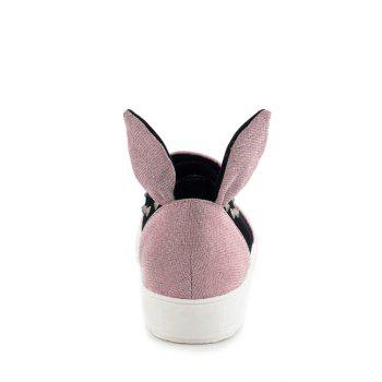 Cute Rabbit Ears and Rivets Design Flat Shoes For Women - PINK PINK