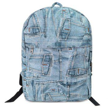 Casual Denim and Zipper Design Backpack For Women