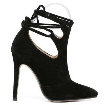 Fashionable Flock and Tie Up Design Pumps For Women - BLACK 37