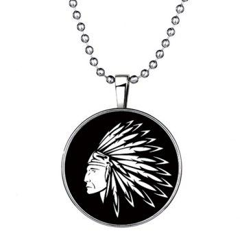 Man Head Printed Round Noctilucent Pendant Necklace