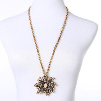 Stylish Rhinestoned  Flower Shape Sweater Chain For Women - GOLDEN GOLDEN