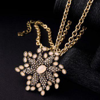 Stylish Rhinestoned  Flower Shape Sweater Chain For Women -  GOLDEN