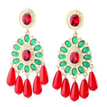 Pair of Water Drop Faux Crystal Tassel Earrings
