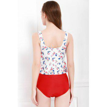 Sexy V-Neck Sleeveless Printed Flounced Two Piece Women's Swimsuit - RED/WHITE S