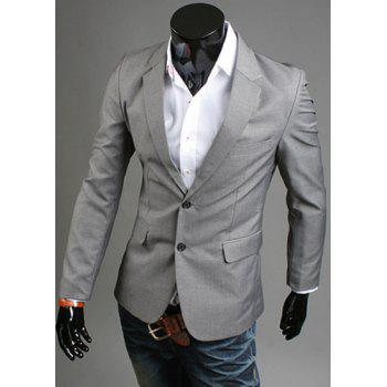 Elegant Turn-Down Collar Pure Color Long Sleeve Men's Blazer