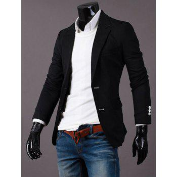 Turn-Down Collar Pure Color Long Sleeve Men's Blazer