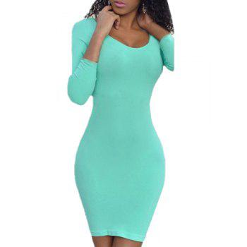 Simple Style Scoop Neck Solid Color Long Sleeve Bodycon Dress For Women