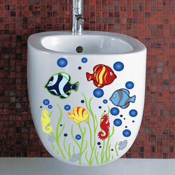 High Quality Fish Pattern Removeable Bathroom Toilet Wall Stickers