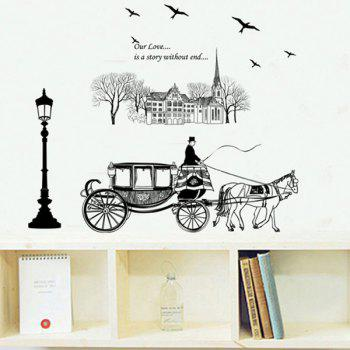 High Quality European Coach Pattern Removeable Wall Stickers - BLACK