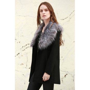 Stylish Boohoo Shawl Faux Fur Collar Women's Coat - BLACK S