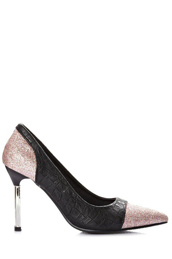 Stylish Stone Pattern and Sequined Design Pumps For Women - PINK 39