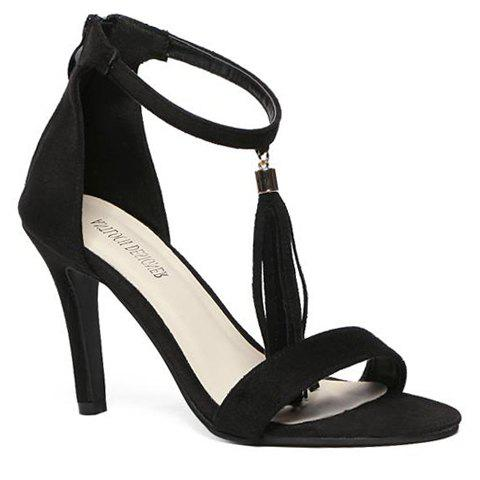 Fashion Tassels and Two-Piece Design Sandals For Women - BLACK 35