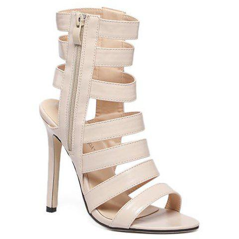 Zip Side High Heel Strappy Sandals - APRICOT 40