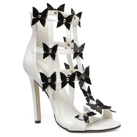 Sexy Flowers and PU Leather Design Sandals For Women - WHITE 37