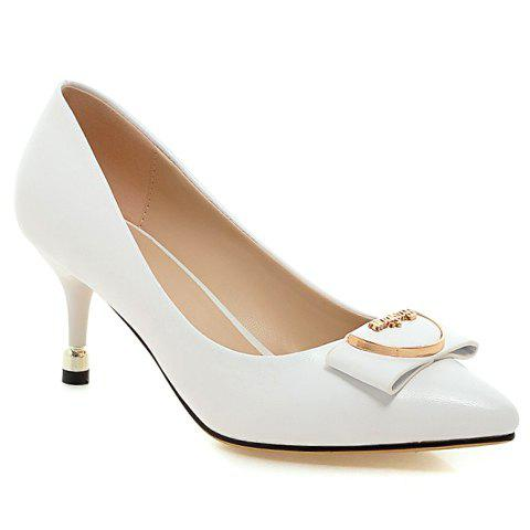 Stylish Metal and Candy Color Design Women's Pumps - WHITE 39