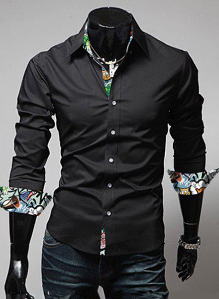 Modish Turn-Down Collar Color Block Print Splicing Long Sleeve Men's Shirt - BLACK XL