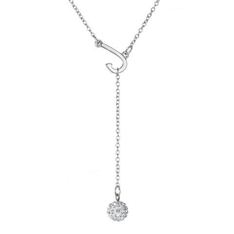 Delicate J Shape Rhinestoned Ball Pendant Necklace For Women - SILVER
