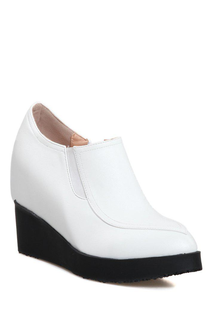 Casual Solid Color and Zip Design Wedge Shoes For Women - WHITE 38