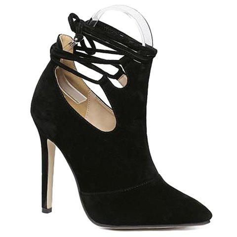 Fashionable Flock and Tie Up Design Pumps For Women