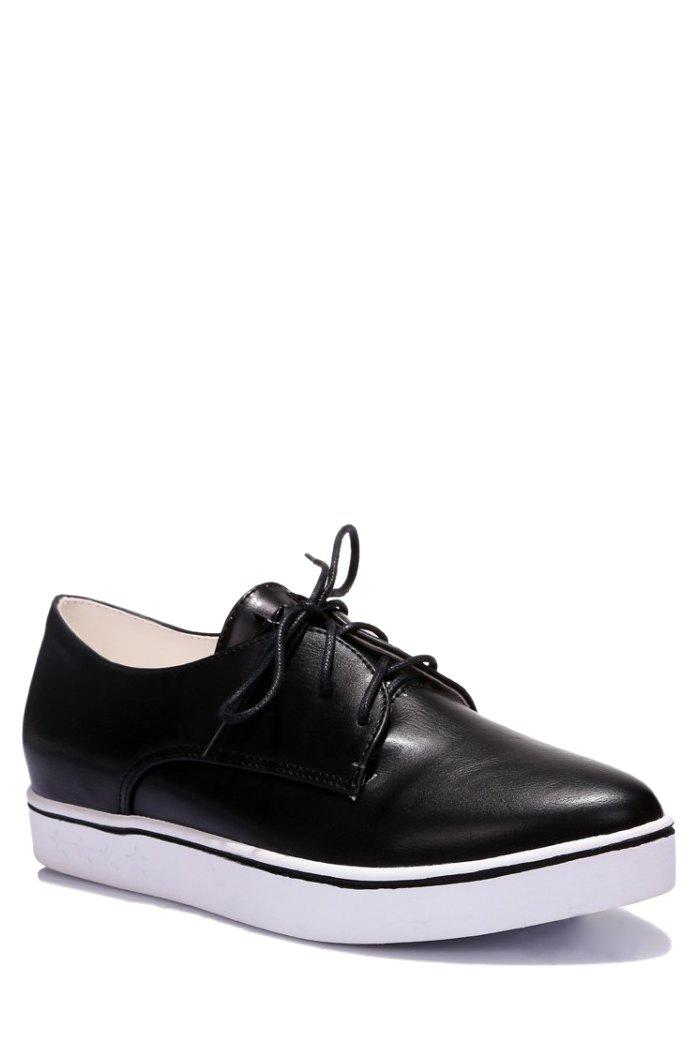 Leisure Lace-Up and Solid Color Design Flat Shoes For Women - BLACK 36