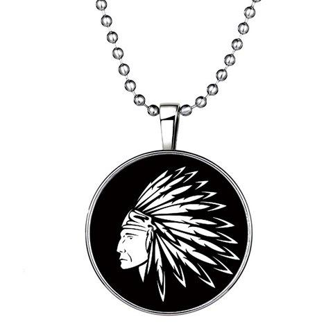 Man Head Printed Round Noctilucent Pendant Necklace - SILVER
