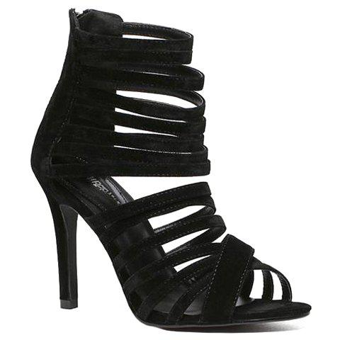 Stylish Flock and Zipper Design Sandals For Women - BLACK 39