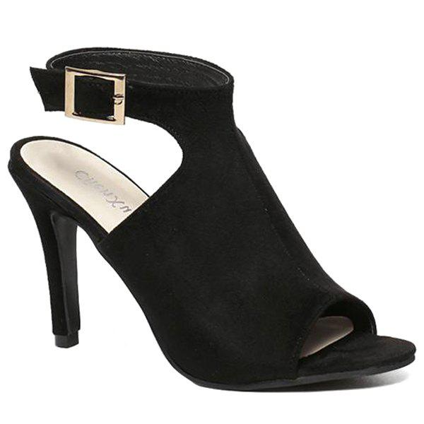 Fashionable Suede and Ankle-Wrap Design Sandals For Women - BLACK 36