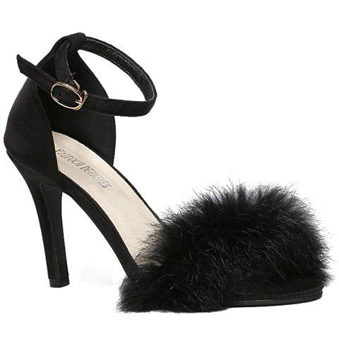 Sexy Faux Fur and Two-Piece Design Sandals For Women - BLACK 38