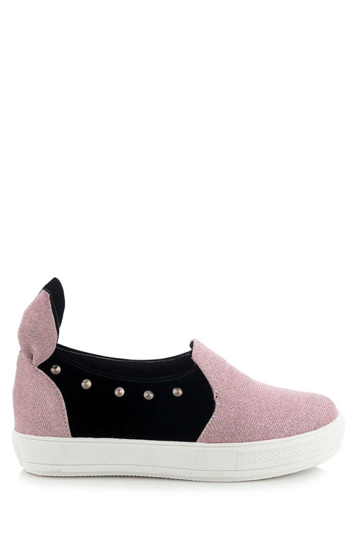 Cute Rabbit Ears and Rivets Design Flat Shoes For Women - PINK 39