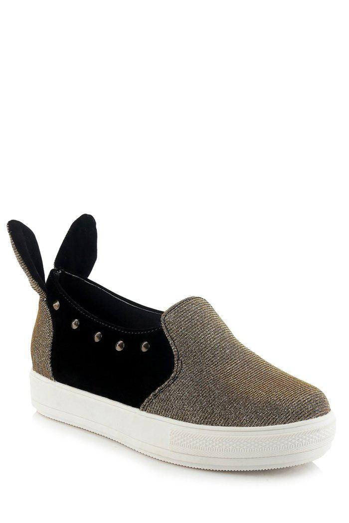 Cute Rabbit Ears and Rivets Design Flat Shoes For Women