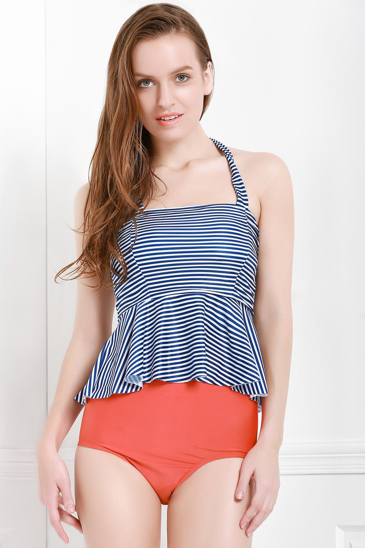 Sexy Halter Sleeveless Striped Flounced Two Piece Women's Swimsuit - BLUE S