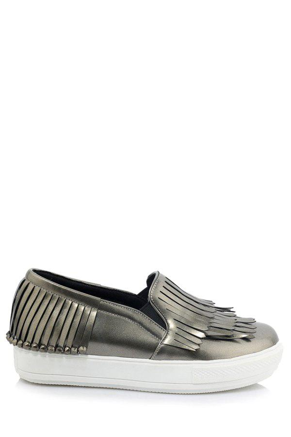 Trendy Multi-Layer Fringe and Solid Color Design Flat Shoes For Women - GRAY 37