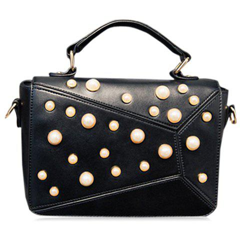 Elegant Faux Pearl and PU Leather Design Tote Bag For Women - BLACK