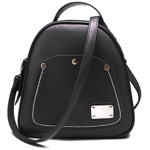 Vintage Solid Color and PU Leather Design Satchel For Women