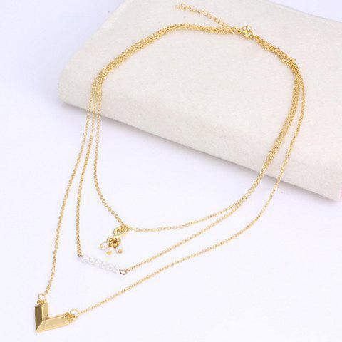 Delicate Multi-Layered Faux Pearl V Shape Pendant Necklace For Women - GOLDEN