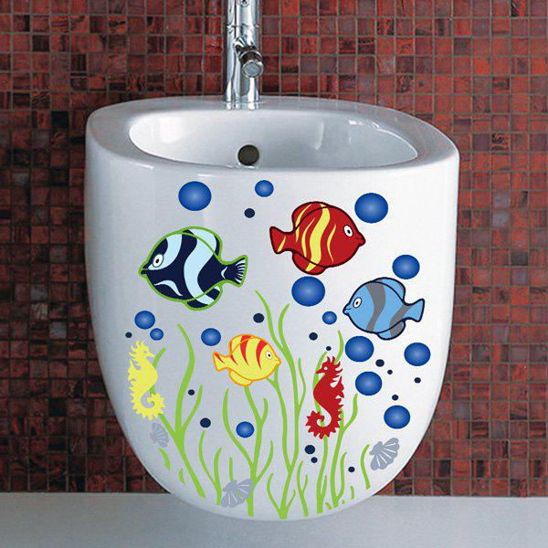 High Quality Fish Pattern Removeable Bathroom Toilet Wall Stickers - COLORMIX