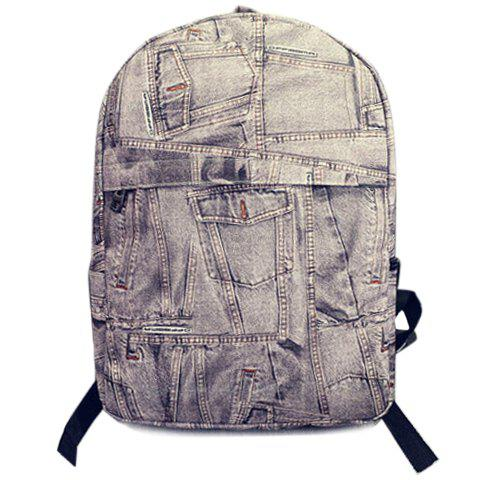 Casual Demin and Zipper Design Backpack For Women