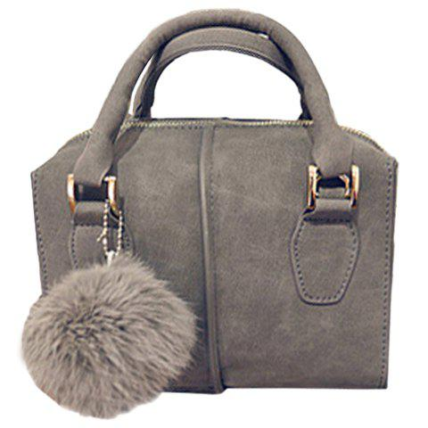 Fashionable PU Leather and Pompon Design Tote Bag For Women - LIGHT GRAY