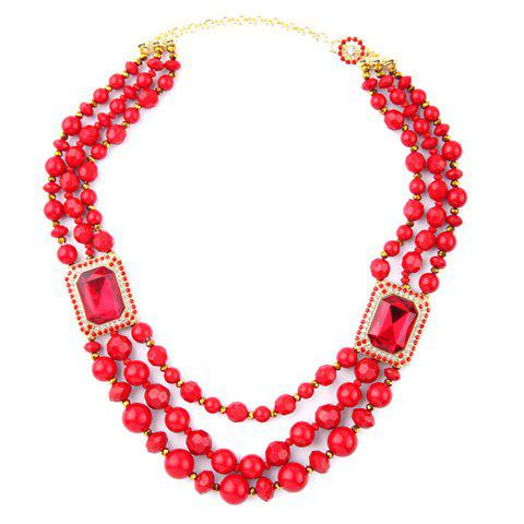 Charming Faux Crystal Multi-Layered Bead Chain Necklace For Women - RED