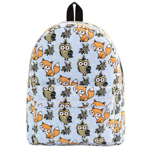 Cute Canvas and Print Design Backpack For Women - BLUE