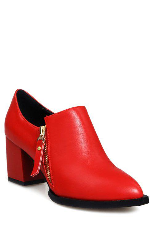 Concise Double Zips and Chunky Heel Design Pumps For Women - RED 34