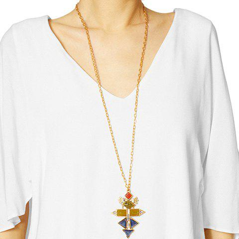Charming Faux Crystal Geometric Sweater Chain For Women - GOLDEN