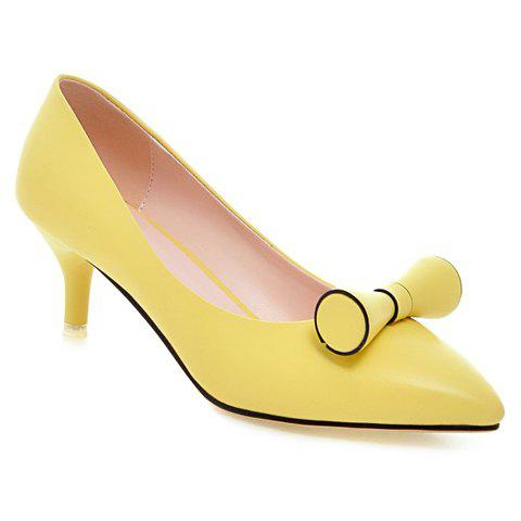 Stylish Pointed Toe and Candy Color Design Women's Pumps - YELLOW 38