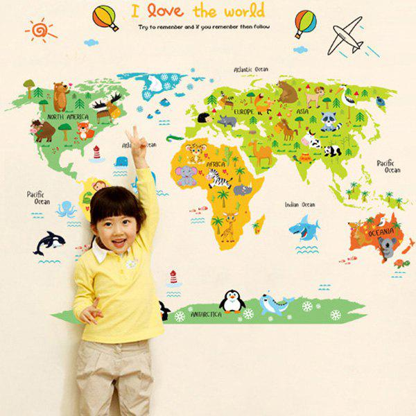 High Quality World Map Pattern Removeable Wall Stickers - COLORMIX