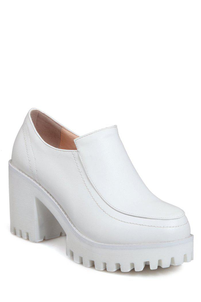 Concise Stitching and Chunky Heel Design Pumps For Women - WHITE 38
