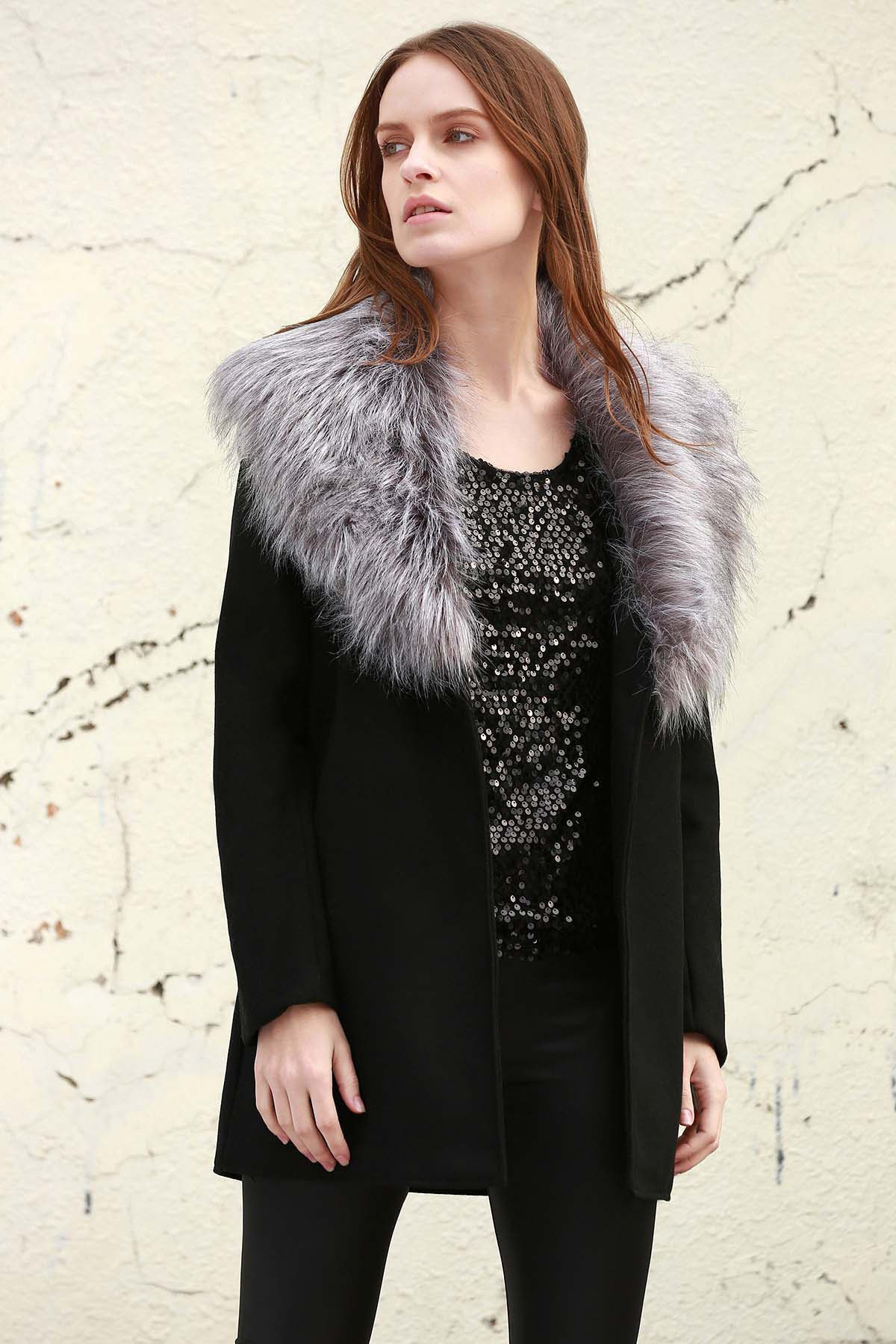 Stylish Boohoo Shawl Faux Fur Collar Women's Coat - BLACK L
