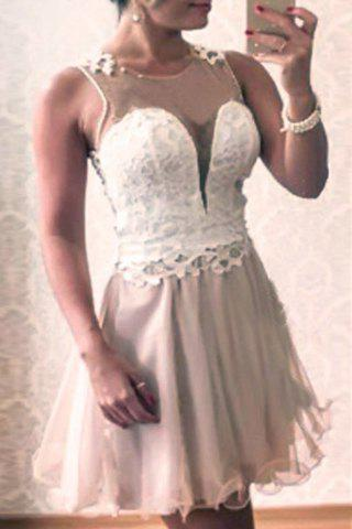 Chic Round Neck Sleeveless Lace and Voile Splicing See-Through Women's Dress - APRICOT S