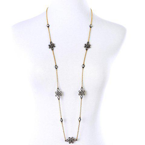 Charming Rhinestoned Hollow Out Flower Sweater Chain For Women - GOLDEN