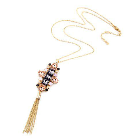 Charming Faux Crystal Flower Link Chain Tassel Sweater Chain For Women - PINK
