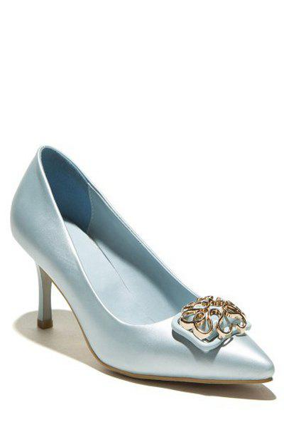 Elegant Metallic and Solid Color Design Pumps For Women - BLUE 38